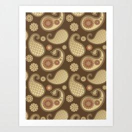 Paisley pattern, Soft Gold on Chocolate Brown Art Print