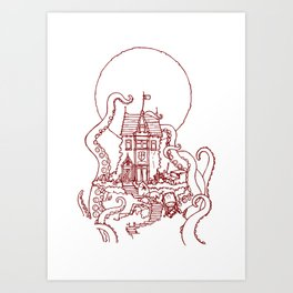 The Midnight Chateau Red Line Art Print