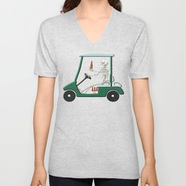 Old Timer Skeleton In Golf Cart Discovers Light Beer graphic Unisex V-Neck