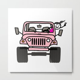 Jeep Wave Pink - Girl Metal Print