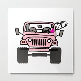 Jeep Wave Pink - Girl Metal Print