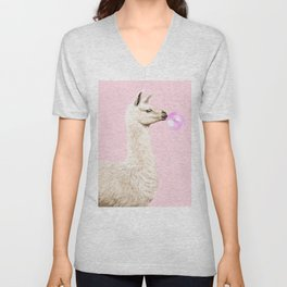 Playful Llama Chewing Bubble Gum in Pink Unisex V-Neck