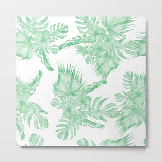Island Tropical Green White Jungle Metal Print