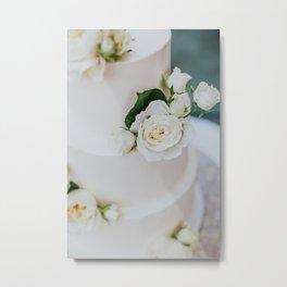 White Wedding Cake and Flowers Metal Print