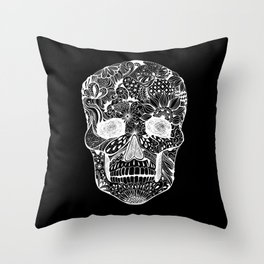 Human skull with hand- drawn flowers, butterflies, floral and geometrical patterns Throw Pillow