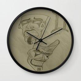 Gemini masks Sketch Wall Clock