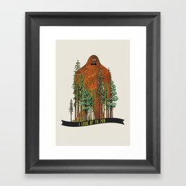 I Look up to You (Bigfoot in the Forest) Framed Art Print