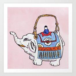 Little Elephant Teapot Art Print