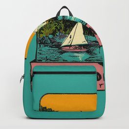 Sailboat Lake Vintage Travel Promisedland Backpack