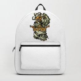 Deathly Lion -  Lion on Dead Skull Backpack