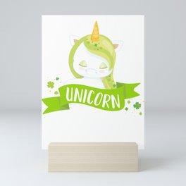 Kids St Patricks Day Kiss Me I'm a Unicorn Kiss me I'm Irish Mini Art Print