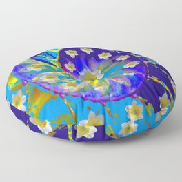 MODERN ART GARDEN BLUE SPIRAL &  DAFFODILS ART Floor Pillow