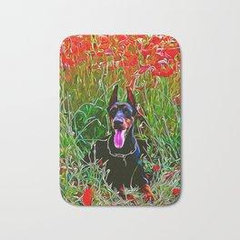 doberman dog red flowers meadow vector art Bath Mat