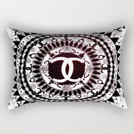 Designer Fashion Black and White Floral High-End Couture Mandala Rectangular Pillow