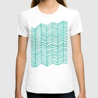 mint T-shirts featuring Mint Herringbone by Cat Coquillette