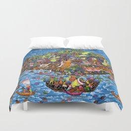 Bali Map Art Painting  Duvet Cover