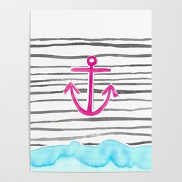 PINK Anchor Symbol - Stripes/blue  Poster