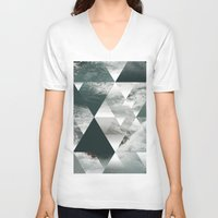 polygon V-neck T-shirts featuring Waves polygon by cat&wolf