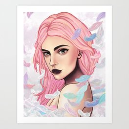 Pink Feather Art Print