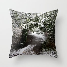 Snowy Path in The Trees Throw Pillow