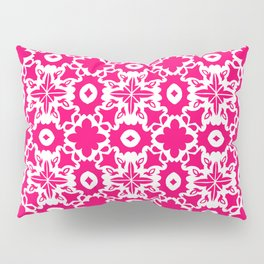 Valencia - Symmetrical Tiling Abstract in Pink and White Pillow Sham