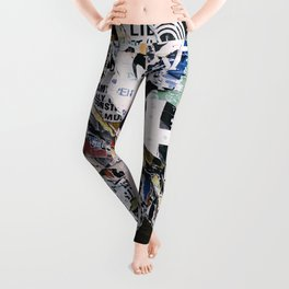 Torn mexican posters wall Leggings