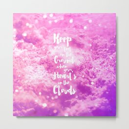 Trendy funny girly pink white clouds pattern Metal Print