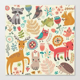 Woodland Animal Pattern Canvas Print