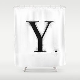 Y. - Distressed Initial Shower Curtain
