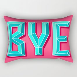 """BYE"" 3D Letters (Hot Pink Red, Teal Light Blue) Rectangular Pillow"