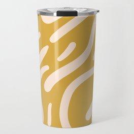 Earthy Mustard Yellow and Light Peach tribal inspired modern pattern Travel Mug