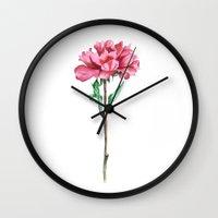 peony Wall Clocks featuring Peony by Bridget Davidson