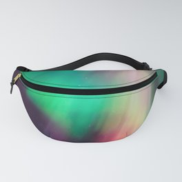 Big beautiful multicolored northern lights in Finland Fanny Pack