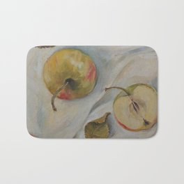 YELLOW APPLES Classic Still Life oil painting for kitchen Impressionism Bath Mat