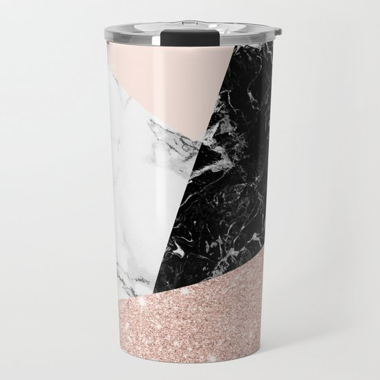 Black white marble blush pink rose gold glitter color block by girlytrend
