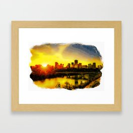 Sunset Above Edmonton Downtown And The Saskatchewan River, Canada Framed Art Print