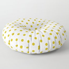White and Gold Polka Dots Floor Pillow
