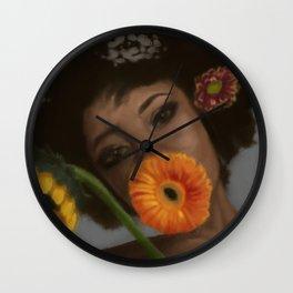 Sunflower Woman Wall Clock