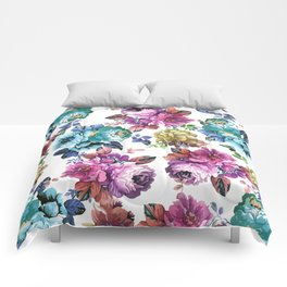 Fluorescent Roses Comforters