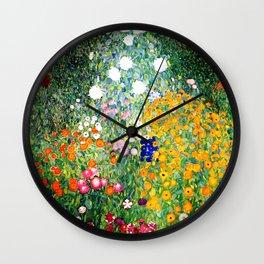 Flower Garden by Gustav Klimt vibrant Wall Clock