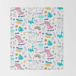 Cute Doodle Illustration Unicorns Rainbows and Dinosaurs Pattern Throw Blanket