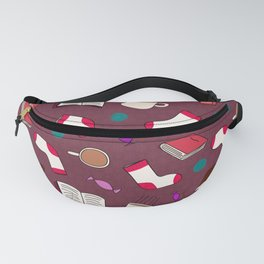 Bookworm Print on Purple Fanny Pack