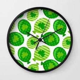 St Patrick's Day Shamrock Balloon Design Wall Clock
