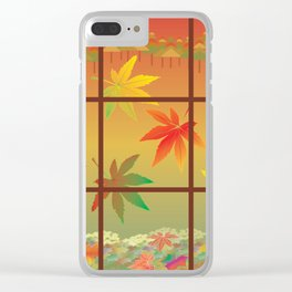 Falling Leaves on Window Pane Clear iPhone Case