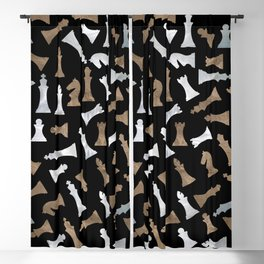 Chess Figures Pattern - Gold and pearl Blackout Curtain