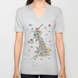 Animal Map of Great Britain & NI for children and kids Unisex V-Neck