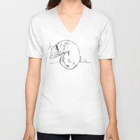 shiba inu V-neck T-shirts featuring Shiba Inu by Cassandra Jean