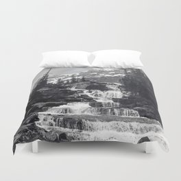 A stepped waterfall with Mount Temple and Mount Hungabee behind, Paradise Valley Duvet Cover