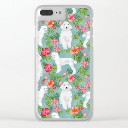 White Poodle floral hawaiian tropical dog breed dogs pet friendly pet art pattern Clear iPhone Case