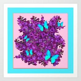 Purple Hyancinths Blue Butterrflies Patterns Art Print